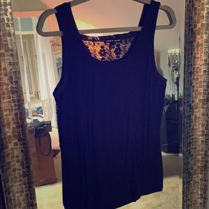 Navy lace detail tank